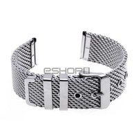 Wholesale Thick Steel Watch - Wholesale-20mm Unisex Thick Mesh Steel Watch Band Strap Bracelet Pin Buckle Silver Fashion