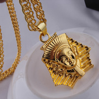 Wholesale pharaoh chain - 18K Gold Egypt Pharaoh Necklace head portrait Hip Hop Necklaces with Box Chain hiphop jewelry punk statement jewelry for men