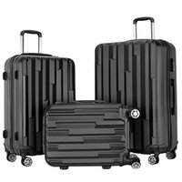 Wholesale suitcase for sale - 3 Pieces Carry on Luggage Set Wheels Spinner Suitcase Travel Suitcase ABS School Rolling Packing Trolley Black