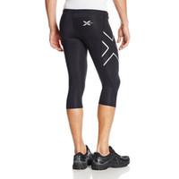 Wholesale Popular Pants - New Popular Mens Trousers 2017 Hot Man Fitness Pants 3 4 Length Running Training Pants man Fashion Pants Silver + Black