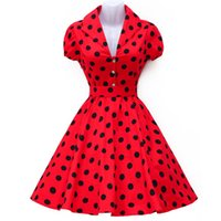 Wholesale Pink Polka Dot Robe - Wholesale- Vestidos Summer Women Dress Polka Dot Short Sleeve Retro Casual Robe Rockabilly Party Dress 50s 60s Pinup Swing Vintage Dresses