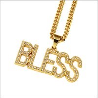 Pendant Necklaces bling gift boxes - Trendy Gold Plated Letter BLESS Pendant Necklace With Bling Rhinestone Jewelry Hip Hop Nightclub Exaggerated With Gift Box
