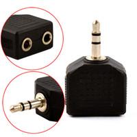 micrófono de los auriculares al por mayor-20 Unids / lote Jack de 3.5mm 1 a 2 Doble Auriculares Auriculares Y Splitter Cord Adapter Plug Aux Audio Mic Splitter Adaptador de Auriculares