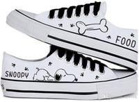 zapatos de lona de boca baja y baja al por mayor-2016 venta caliente verano mujeres zapatos casuales snoopy bribón conejo pintado a mano zapatos de lona baja boca baja negro de encaje zapatos de lona mujer