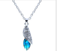 Wholesale Swarovski Drop Pendant Wholesale - 2016 Swarovski Elements Crystal Necklace Women Ladies Fashion Popular Silver Plated Drop Pendants Hot Sale Collier Jewelry Wholesale