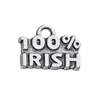 Hot Cheap Zinc Alloy Vintage Antique Argent Plaqué 100% Irish Letter Charms Jewelry Findings Wholesale