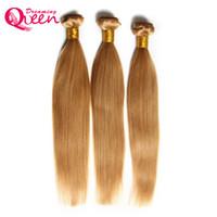 bal sarışın ombre saç toptan satış-# 27 Bal Sarışın Renk Ombre Brezilyalı Düz Saç Demetleri Ombre Virgin İnsan Saç Örgüleri 3 Adet Ombre İnsan Saç Uzatma