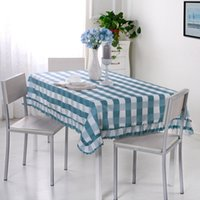 Wholesale Waterproof Restaurant Tablecloths - [Blue lattice] waterproof table lace rectangular tablecloth fashion lace western tablecloth for living room restaurant kitchen
