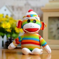 Atacado- Beanies Boos Kids Ty Stuffed Peluche Brinquedos Colorful Sock Monkey Stripes Lovely Presentes de aniversário Kawaii Girls Cute Animals Toy Doll