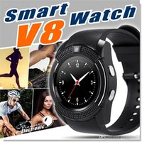 Wholesale Bluetooth Camera For Gps Use - smart watch smart wristband v8 bluetooth 4.0 smartwatch support TF SIM card for Android and IOS smart phone