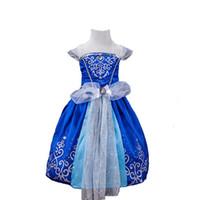 Wholesale Royal Blue Suspenders - Girl's Princess Dresses Dobby Gauze Lace Big Bow Royal Blue Sleeping Beauty Sofia Rapunzel Cinderella Belle Party Costume Cosplay Dress