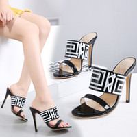 Sexy High Heel Women Sandals Mules Black Geometric Printed Shoes Zipper Taille 35 à 40