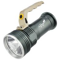 askeri bataryalar toptan satış-Yüksek Güç Taşınabilir Fenerler Alüminyum Su Geçirmez CREE LED Işıldak 18650 Pil Şarj Edilebilir El Feneri 500 M Aralığı Askeri Torch Işık