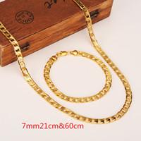 14 ayar sarı altın doldurma zinciri toptan satış-Bayan Erkek Zinciri 14 K Altın GF Zinciri Curb Bağlantı Sarı Katı Altın Kolye Dolgulu 600mm Bilezik 210mm * 7 MM Zincir Takı setleri