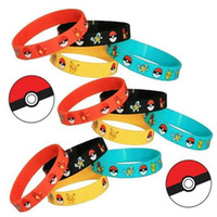 Wholesale Band Toy - Silicone Poke Bracelet poke figures Wristband Soft pokeball pikachu Wrist band Straps Kids Toys cosplay tools gifts 4 colors in stock