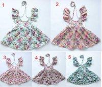 Wholesale Cute Baby Dresses Wholesale - new arrivals vintage flowers butterfly print 100% cotton Girl dress kids lolita style beach dress cute baby summer halter dress 5 colors
