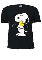 t-shirt snoopy achat en gros de-Hommes T-shirt À Manches Courtes Snoopy PEANUTS Cartoon Heureux Mignon Hommes Femmes Unisexe Top T-shirt