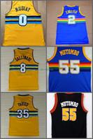 Wholesale Rainbow Jersey - 55 Dikembe Mutombo Jersey Red White Black Blue Rainbow Throwback Men's 2 Alex English 0 Emmanuel Mudiay 35 Kenneth Faried Basketball Jersey