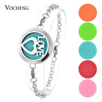 Wholesale Hearts Padded - Aromatherapy Locket Bracelet Perfume Bangle 316L Stainless Steel Love Heart Magnetic 2 Styles without Felt Pads VA-282