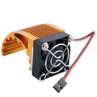 Wholesale Electric Motor For Fan - RC HSP Gold 42mm Alum Heat Sink DC5V Fan Cooling For Engine Motor 4274 4268 1515