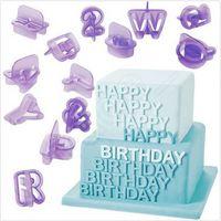 Wholesale Cake Alphabet Letters - New Arrival 40pcs set Alphabet Letter Number Fondant Cake Biscuit Baking Mould Cookie Cutter Fondant Cake Decorating Mold Set CCA5493 100set