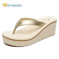 Wholesale Beach Wedge Sandals Flip Flops - 2017 Wedges Flip Flops Women Slippers Summer Fashion Beach Thick Heel Leopard Print Women Platform Sandals Size 35-40