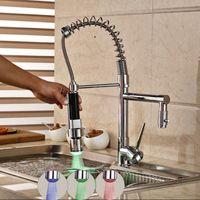 Wholesale Single Lever Mixer Kitchen Faucet - Wholesale- Factory Direct Sale LED Light Kitchen Faucet Single Lever Deck Mounted Spring Mixer Tap with 2 Spouts Chrome Finish