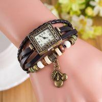 Wholesale Cherry Quartz - New fashion retro vintage women leather bracelet watch 2017 square dial cherry pendant dress quartz weave rope wrist watch