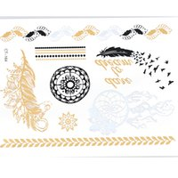 Wholesale Tattoos Nice - Wholesale- CT164 feather nice jewelry sticker tattoo metallic golden flash tattoos tattoo large temporary tattoo prices sticker