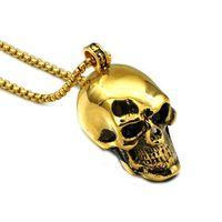 1ac5607a2b46 Punk oro negro azul plata color acero inoxidable esqueleto cráneo colgante  collares para hombres joyería