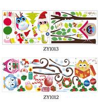 stickers muraux enfants achat en gros de-Mignon sage hiboux arbre stickers muraux pour enfants chambres enfants autocollant amovible pvc stickers muraux décoration de la maison autocollant de Noël