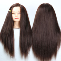 "Wholesale Training Doll Head - 24"" Brown Yaki Synthetic Mannequin Head Hair Maniqui Hairdressing Doll Heads Maniquies Women Educational Training Hairdresser + Clamp"