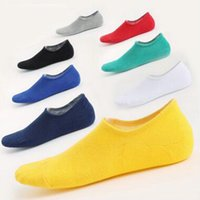 Wholesale ankle skid socks - High Quality Fashion Cotton Men's Socks Breathable Silica gel Anti-skid Boat Socks Breathable deodorant Invisible Nonslip Ankle Socks