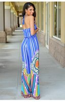 Wholesale V Neck Jumpsuits Cheap - wholesale cheap price full length v-neck backless bohemian striped summer casual style long jumpsuit for lady
