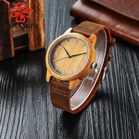 Wholesale Custom Leather Bracelet Brown - SIHAIXIN Men's Watch Genuine Leather Bracelet Watch With Engraved Custom Text Wooden Bamboo Wrist Watches As Gift Male