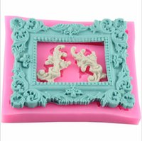 Wholesale Christmas Silicone Mold Wholesale - New Hot Vintage Rectangle Frame Silicone Mold Cake Decorating Fondant Clay Sugar crafts WA739 W0.5
