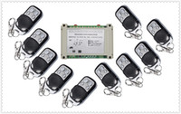 Wholesale rf control systems - Wholesale- 220V 380V 4CH 30A RF Wireless Remote Control System Radio Switch remote switch 220V 380V Learning code receiver 10* transmitter