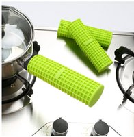 Wholesale Cover Pots - Silicone Pot Pan Handle Holder Sleeve Cover Grip Sleeve Kitchen Utensil Pot Pan Handle Holder pan Holder Sleeve Slip Cover KKA1061