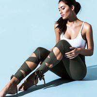 Wholesale Cross Leggings Xl - 2017 women Elegant ballet style workout leggings pants fitness cross Bandage Elastic sport trousers