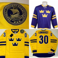 Wholesale red white paintings resale online - Men s Henrik Lundqvist Hand Painted Sweden Jersey Yellow Purple Stitched Embroidery Logos Hockey Jerseys