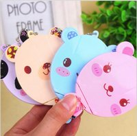 Wholesale Gift Comb Set - Christmas gifts Cute cartoon animal comb + mirror set Makeup Mirrors portable pocket cosmetic mirror FreeShipping 4 colors