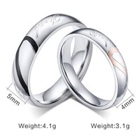Wholesale Half Heart Stainless Steel - JEWELRY 316L Stainless Steel Silver Half Heart Simple Circle Real Love Couple Ring Wedding Rings Engagement Rings 080002