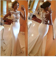 Wholesale Sleeveless Mermaid Dress Wedding - 2016 New Bohemian glamorous white mermaid trumpet lace wedding dresses with applique zipper back court train formal bridal gowns
