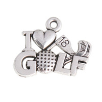 Wholesale Vintage Expandable Bangle I Love Golf Charms The th Hole Golf Sport Alloy Charms AAC1050