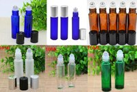 Wholesale Blue Bottle Essential Oils - 100pcs Amber  Clear  Green  Frosted Blue Glass Roller Bottles with SS Ball For Essential Oil Perfume Empty Glass Bottles Free DHL Shipping