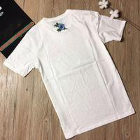 Wholesale Tee Shirt Girl Flower - Women's T-shirt girls tees women clothing apparel white Embroidery flower tops brand
