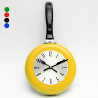 Wholesale Flying Clock - Wholesale-New Arrival Creating Stylish 8 Inch High Quality Metal Flying Pan Wall Clock Kitchen Home Office Cooking Quartz Hanging Design