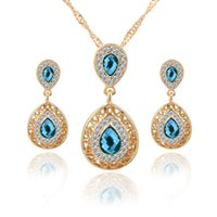 Wholesale Set Gold Plated Clear Crystal - 18K Yellow Gold Plated AAA+ Clear Crystal Cluster Green Red Blue Stone Earrings Pendant Necklace Jewelry Sets for Women Hot Gift
