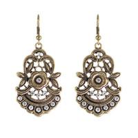 Wholesale Vintage Metal Chandelier Flowers - Vintage Design Rhinestone Metal Flower Statement Earrings