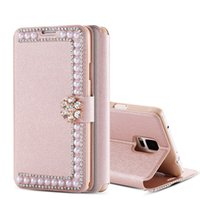 Wholesale Phone Jewel Cases - For iPhone 7 plus 6s Glitter Jewel Pearl Buckle Cover For Samsung Galaxy S8 S8 Plus S7 S6 Edge Plus Flip Phone Cases